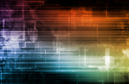Wissenschaft Hintergrund mit leuchtenden Linien Techno Kunst Lizenzfreie Bilder - 44029280