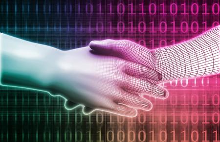 handshake: Apret�n de manos digital entre hombre y Tecnolog�a de M�quinas