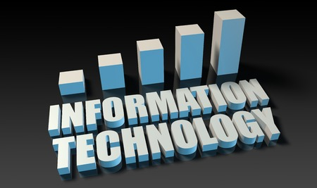 experienced: Information technology graph chart in 3d on blue and black