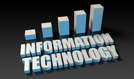tecnologia informacion: Tecnolog�a de la informaci�n gr�fica gr�fico en 3d en azul y negro Foto de archivo