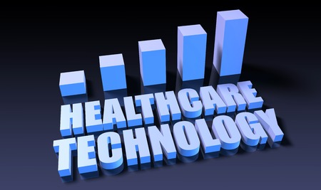 experienced: Healthcare technology graph chart in 3d on blue and black