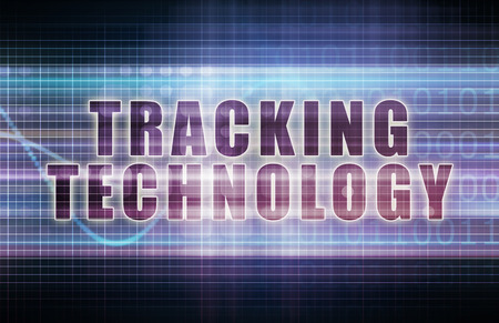 tracking: Tracking Technology on a Tech Business Chart Art Stock Photo