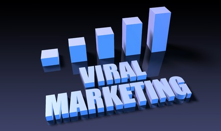 viral marketing: Viral marketing graph chart in 3d on blue and black