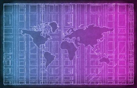 telecommunications: Media Telecommunications Concept with Video Wall Art Stock Photo