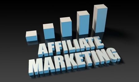 affiliate: Affiliate marketing graph chart in 3d on blue and black