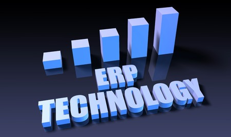 erp: Erp technology graph chart in 3d on blue and black Stock Photo