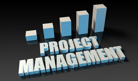 management concept: Project management graph chart in 3d on blue and black