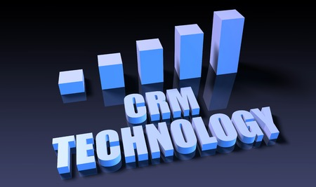 crm: Crm technology graph chart in 3d on blue and black