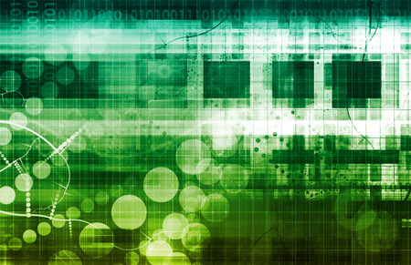 tecnología informatica: Concepto de la tecnología del ordenador con el alcance global del arte
