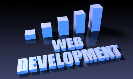 web development: Web development graph chart in 3d on blue and black Stock Photo