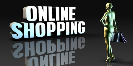 lady shopping: Online Shopping as a Concept with Lady Holding Shopping Bags Stock Photo