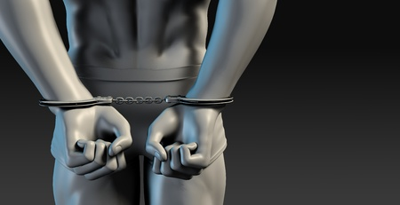 persecution: Criminal Justice System of Man Arrested with Handcuffs Stock Photo