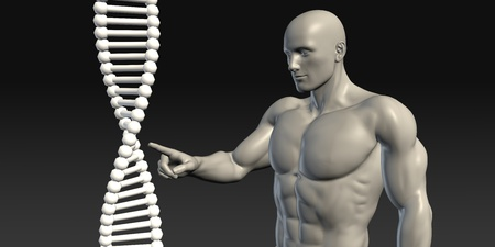 funding of science: Scientist Pointing at DNA Helix Structure as Art Stock Photo