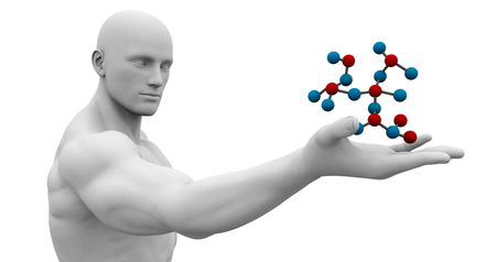genetic research: Medical Science Technology with Scientist Holding Molecule