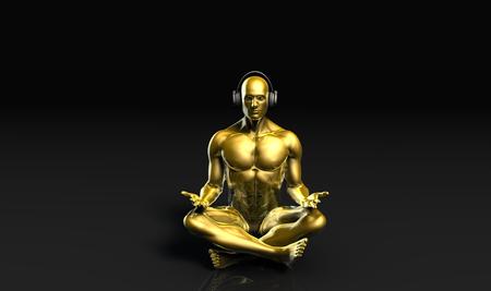man meditating: Man with Headphones Listening to Music Meditating in 3d