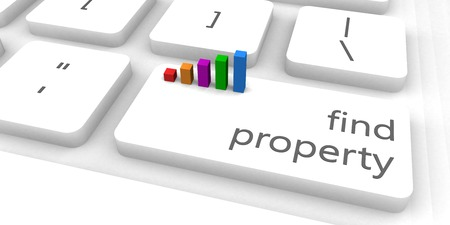 the property: Find Property as a Fast and Easy Website Concept Stock Photo