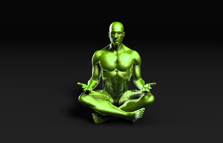 practioner: Man Sitting in the Lotus Position in Yoga as Art