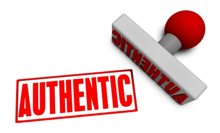 authentic: Authentic Stamp or Chop on Paper Concept in 3d Stock Photo