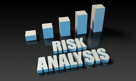 analysis: Risk analysis graph chart in 3d on blue and black