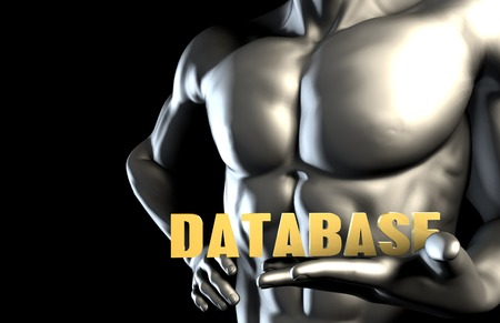 Database With a Business Man Holding Up as Concept