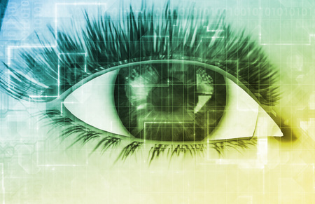 secure: Retinal Scan Technology for Secure Biometric System Stock Photo