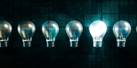 business software: Glowing Light Bulb as a Business Idea Concept