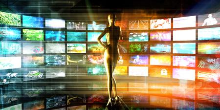 ビデオの壁背景としてメディア技術の概念