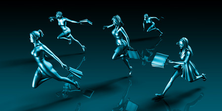 personas corriendo: Compras Frenesí venta con Ladies Running to Shop Foto de archivo