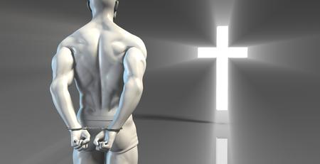 confessing: Criminal in Handcuffs Seeking Forgiveness In a Cross Stock Photo