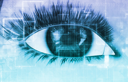 cybernetic: Cybernetic Eye with Futuristic Abstract Background as Art