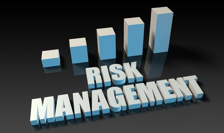 experienced: Risk management graph chart in 3d on blue and black Stock Photo