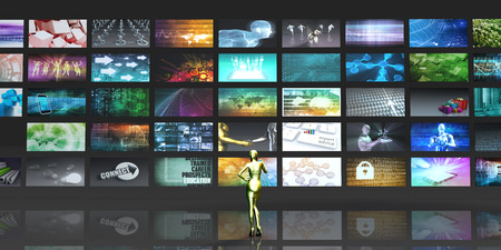 vod: Multimedia Technology with Woman Staring at Screens