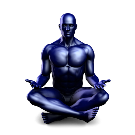 position: Man Sitting in the Lotus Position in Yoga as Art