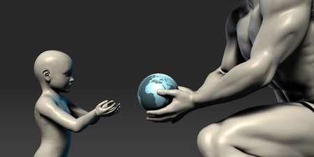 gifting: Old Man Giving Earth to a Child as a Conservation Concept