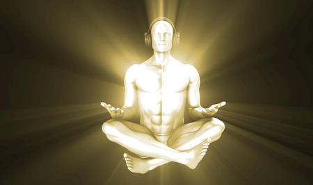 listening to music: Man Listening to Music Meditating in Earphones 3d