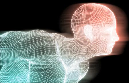 와이어 메쉬 그리드와 인공 지능 개념 스톡 콘텐츠