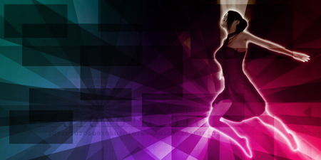 empowered: Empowered Female Dancing with Copyspace Background Art Stock Photo