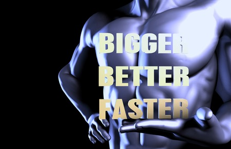 bigger: Bigger better faster With a Business Man Holding Up as Concept Stock Photo