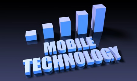 Mobile technology graph chart in 3d on blue and black Фото со стока