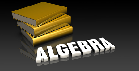 subject: Algebra Subject with a Pile of Education Books
