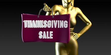 Thanksgiving Sale with a Lady Holding Shopping Bags