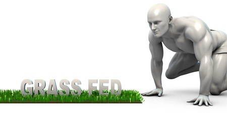 closely: Grass Fed Concept with Man Looking Closely to Verify