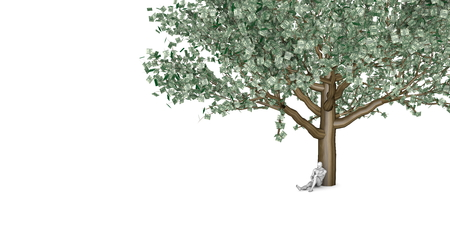 underneath: Man Sitting Underneath a Money Tree as Business Concept