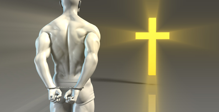 confess: Religious Transformation to Christianity as a Concept Stock Photo