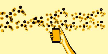 letras musicales: Smartphone con notas de la música como un concepto