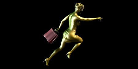 sales event: Woman Shopper Running for a Sales Event Stock Photo