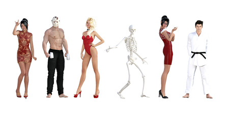 themed: Costume Party for Halloween with Different People Stock Photo