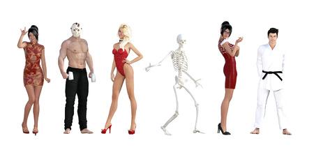 Kostüm-Party für Halloween mit verschiedenen Menschen
