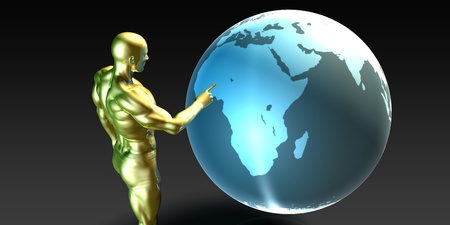 localization: Businessman Pointing at Africa or African Business Investment Stock Photo