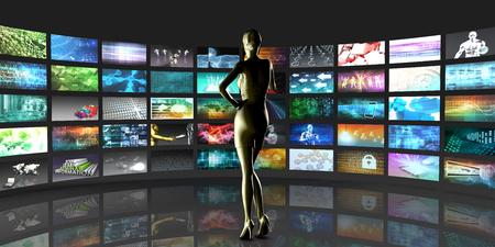 Video-Streaming als Technologie-Konzept mit Lady Zusehen Standard-Bild - 45474122